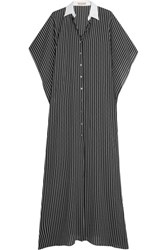 Michael Kors Collection Oversized Pinstriped Silk Maxi Dress Black