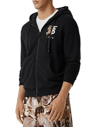 Burberry Logo Embroidery Zip Up Jersey Hoodie Black