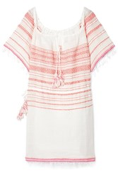 Lemlem Tiki Fringed Embroidered Cotton Blend Gauze Dress Medium