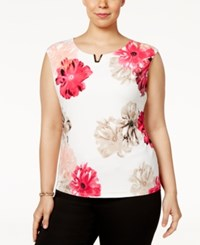 Calvin Klein Plus Size Embellished Floral Print Shell Rose Combo