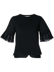Muveil Broderie Anglaise Cuff T Shirt Black