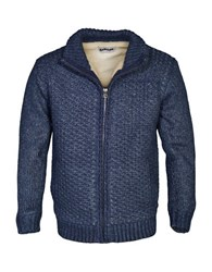 Schott Heavy Textured Sherpa Lined Sweater Jacket Denim