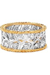 Buccellati Ramage Eternelle 18 Karat White And Yellow Gold Diamond Ring 52
