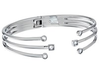 Michael Kors Mixed Shape Cz Open Cuff Bracelet With Hinge Back Silver Bracelet