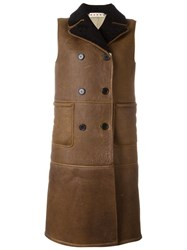 Marni Sleeveless Shearling Jacket Brown