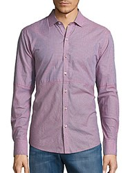 Zachary Prell Julian Woven Button Down Shirt Pink