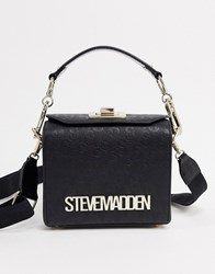 Steve Madden Bbrew Monogram Logo Cross Body Bag In Black