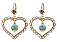 Betsey Johnson Heart Orbital Drop Earrings Turquoise Earring Blue