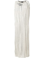 Lorena Antoniazzi Striped Maxi Dress With Sequin Star Details Nude And Neutrals