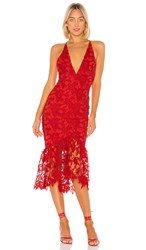 X By Nbd Hayden Midi Dress In Red. Candy Red