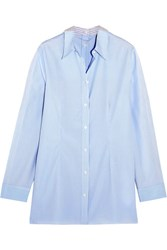 Maison Martin Margiela Mm6 Striped Cotton Poplin Shirt Sky Blue