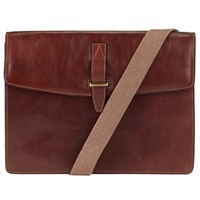 John Lewis Made In Italy Leather Messenger Bag Brown