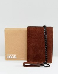 Asos Suede Wallet In Brown With Chain