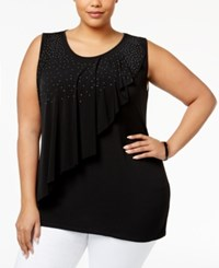 Belldini Plus Size Embellished Asymmetrical Overlay Top Black
