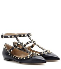 Valentino Rockstud Leather Ballerinas Blue