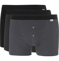 Schiesser Ludwig Three Pack Stretch Cotton Boxer Briefs Gray