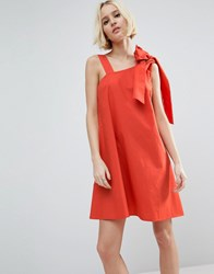 Asos Bow And Tie Detail Sundress Red