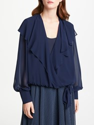 Bruce By Bruce Oldfield Wrap Over Tie Waist Blouse Navy