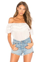 1.State Off Shoulder Ruffle Top With Trim White