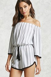 Forever 21 Striped Off The Shoulder Romper Cream Black