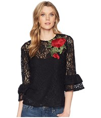Scully Kathe Lace Top W Tank And Rose Applique Black Clothing