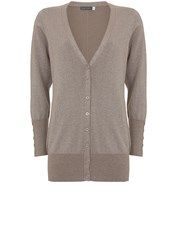 Mint Velvet Latte Metallic Boyfriend Cardigan Light Brown