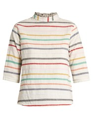 Ace And Jig Sylvia High Neck Embroidered Stripe Cotton Top White Multi