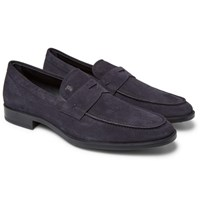 Tod's Suede Penny Loafers Navy