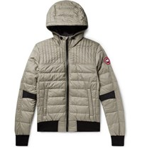Canada Goose Cabri Quilted Nylon Ripstop Hooded Down Jacket Gray Green
