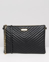 Aldo Chevron Quilted Zip Top Pouch With Removable Cross Body Strap Black