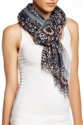 14Th And Union Mosaic Tile Print Wrap Scarf Black