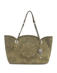 Jessica Simpson Sunny Perforated Tote Moss