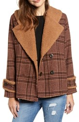 Moon River Faux Shearling Trim Plaid Jacket Brown Plaid
