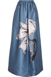 Rochas Printed Satin Maxi Skirt Blue
