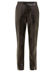 Helmut Lang Mid Rise Leather Trousers Black