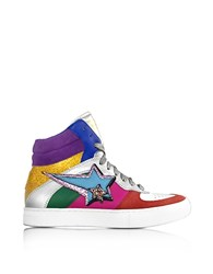 Marc Jacobs Rainbow Leather Eclipse High Top Sneakers Silver
