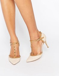 Dune Studded Detail Open Court Shoe Nude Beige