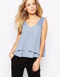 Y.A.S London Sleeveless Lace Top Blueinfinity