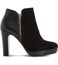 Dune Oscar Leather And Suede Heeled Ankle Boots Black