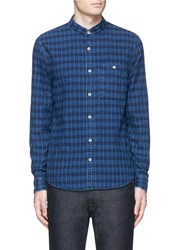 Denham Jeans 'Riz' Check Contrast Stitch Cotton Shirt Blue