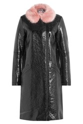Shrimps Patent Coat With Faux Fur Collar Black