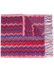 Missoni Zig Zag Crochet Knit Scarf Women Viscose One Size