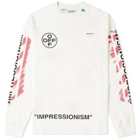 Off White Long Sleeve Stencil Diagonals Tee White