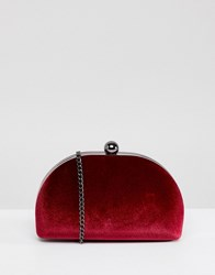 True Decadence Burgundy Velvet Half Moon Clutch Bag Red