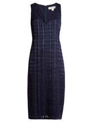 Diane Von Furstenberg V Neck Sleeveless Textured Satin Dress Navy