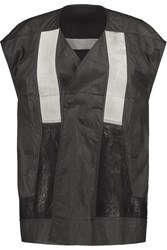 Rick Owens Leather And Twill Paneled Coated Cotton Gilet Black