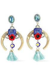 Elizabeth Cole Embellished Gold Tone Stone And Crystal Earrings Multicolor