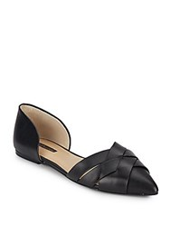Bcbgeneration Pepper Woven Leather Point Toe D'orsay Flats Black
