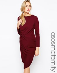 Asos Maternity Exclusive Textured Bodycon Dress With Gathered Wrap Skirt Red
