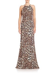 Badgley Mischka Leopard Print Halter Gown Brown Multi